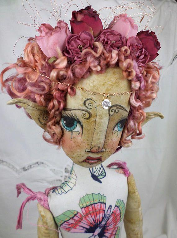 OOAK Fairy Art Doll  Olivia Rose Ravenwood  butterfly rose