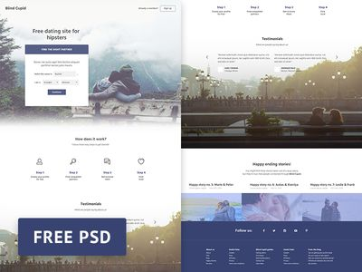 PSD Freebie - Blind Cupid Dating Site Web Template