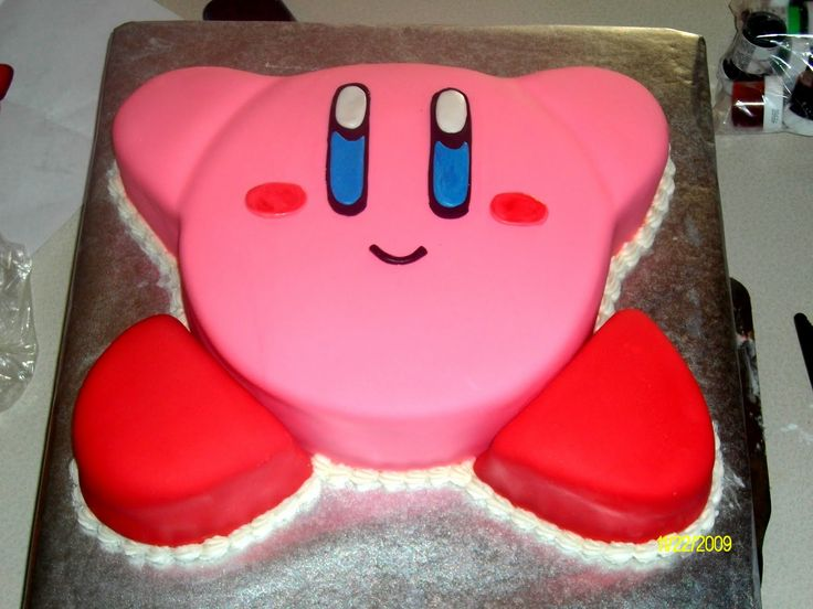 Hayden wants a Kirby cake for his birthday this year. This one looks like it might not be too difficult to pull off.