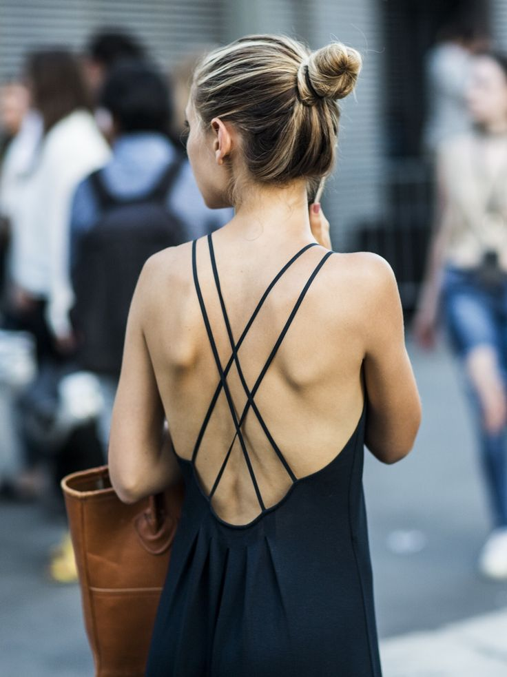 Cross back + topknot.