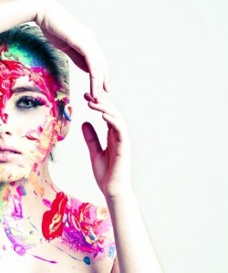 playing in paint photoshoot , like lights' music video