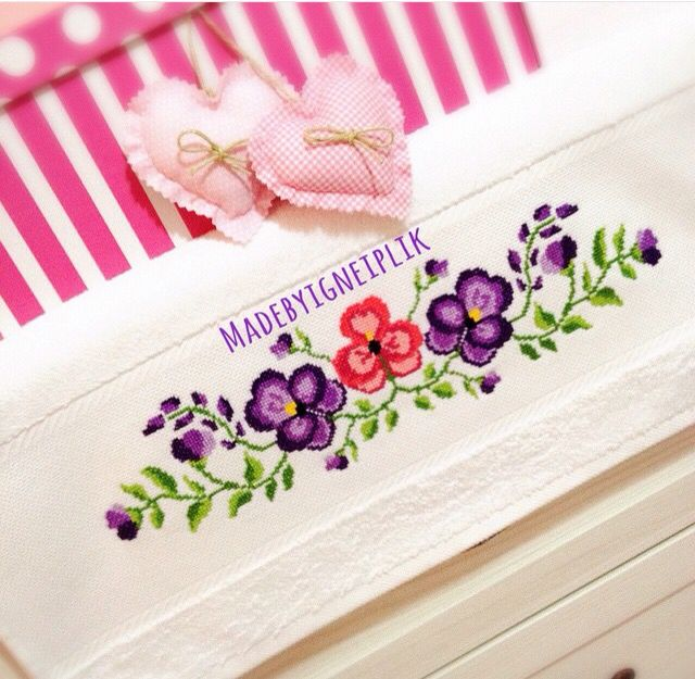Cross stitch violet flowers towel