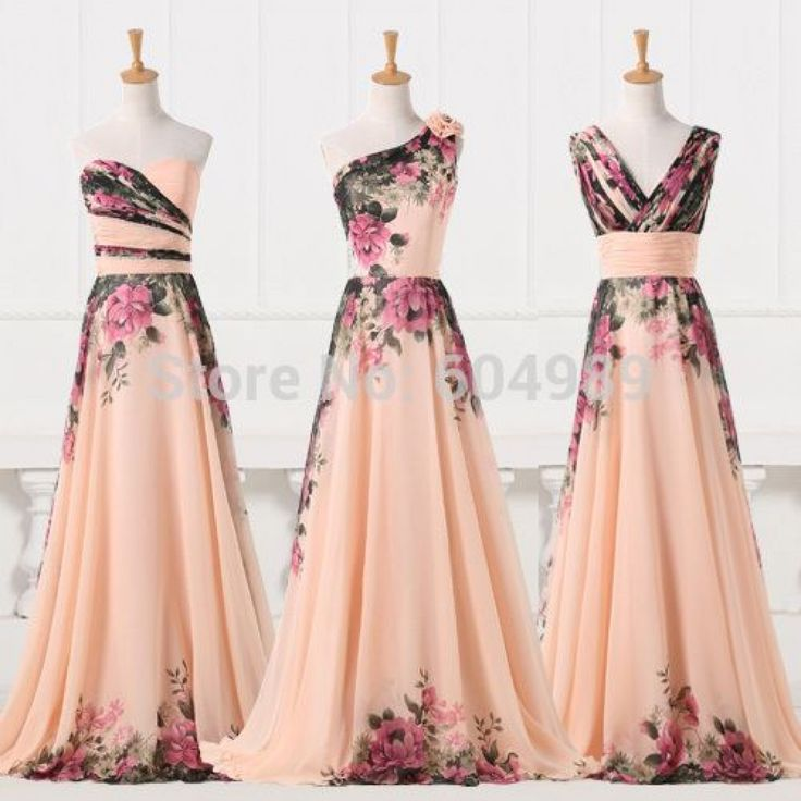 Charming A-Line Sweetheart/ One-Shoulder/ V-Neck Print Pattern Chinese Style…