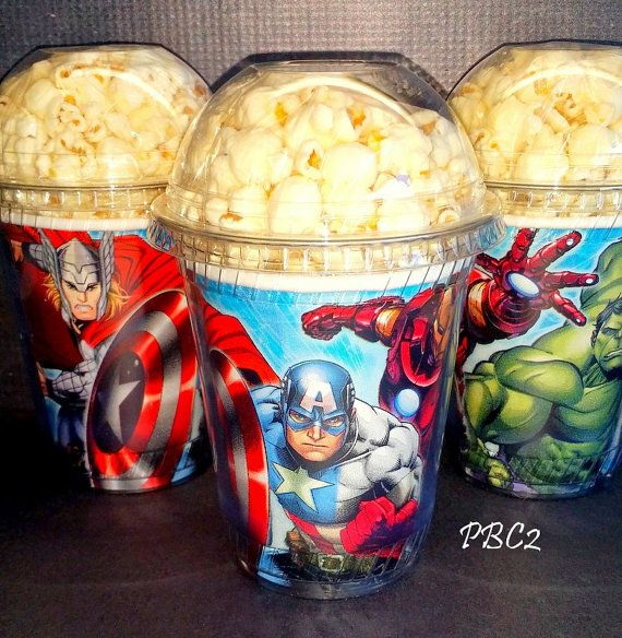 Popcorn Boxes with clear dome lid. Avengers Birthday Party Popcorn Boxes.    Extraordinary packaging and favor containers for your extra special