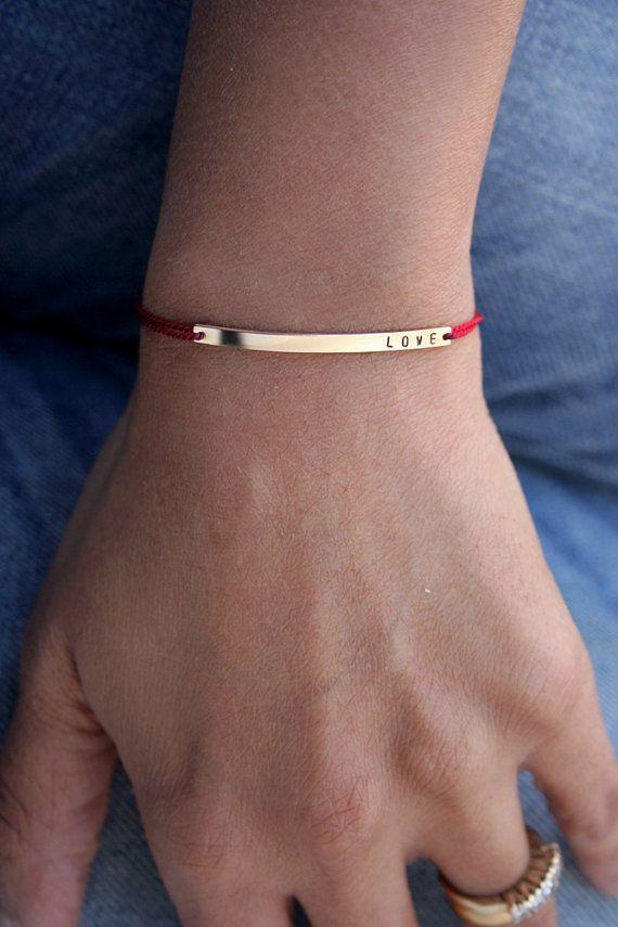 LOVE bracelet with silk cord Nameplate bracelet Love by shopLUCA
