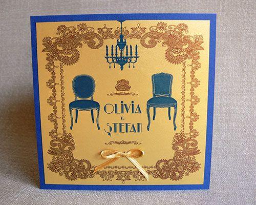 retro, Great Gatsby themed wedding invitation - Invitatii de Nunta - Agatha