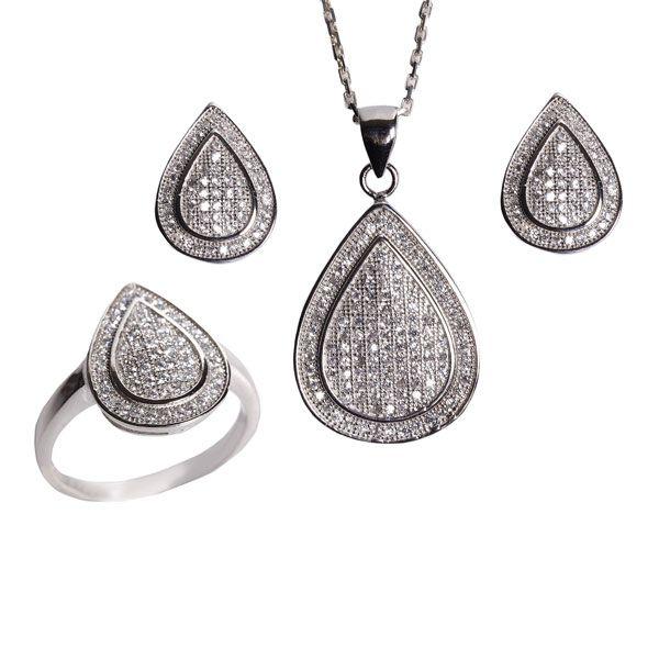 Damla temalı, zirkon taşlı, gümüş bayan set