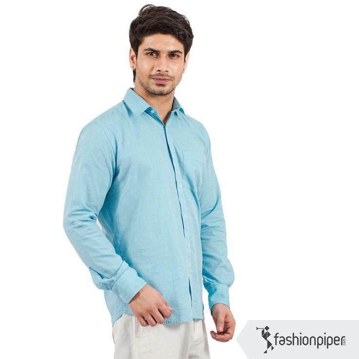 #Smart #washed #blue #shirt  Buy here: http://www.fashionpiper.com/men/western-wear/casual-shirt/basically-blue-shirt-1261.html