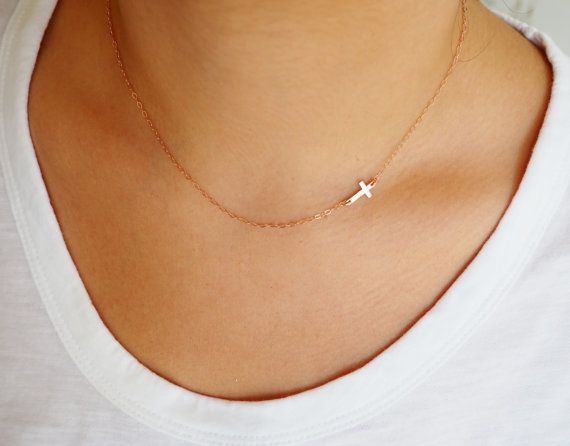 Rose Gold Cross Necklace Off Side Cross by MarianaEJewelry on Etsy