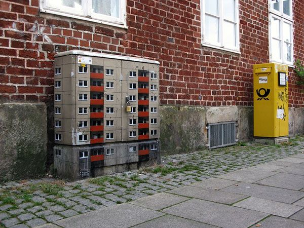 Miniature Apartment Buildings - Street Art by Evol