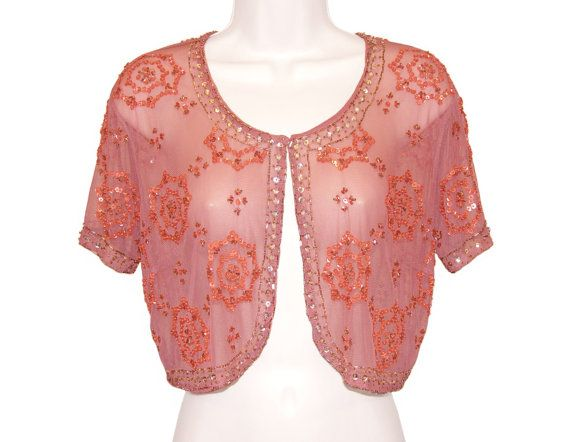 Sequined Beaded Jacket, French Art Deco, 1920s, Flapper - Burlesque - Chic - Pink - Cropped Jacket - Bridal - Capelet - Vest - Boardwalk Empire - Glass Beads - Great Gatsby