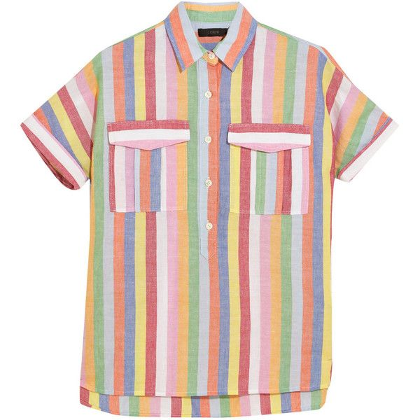 J.Crew Striped cotton, ramie and linen-blend shirt found on Polyvore featuring tops, shirts, blouses, pink, pink stripe shirt, crew neck shirt, sequin top, colorful striped shirt and sequin shirt