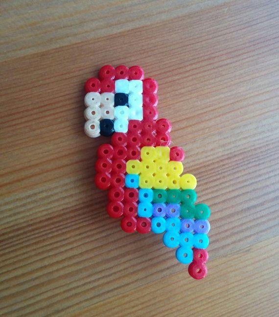 parrot brooch  handmade  perler beads