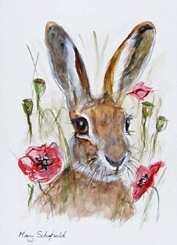 Brown Hare 5 Red Poppies flower Painting Animal art Open Edition Print Wildlife | eBay
