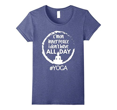 Womens Funny Yoga Meditation T-shirt Inner Peace Tee XL H... https