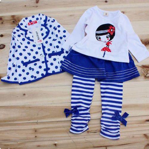 Fall Girls Kids Preppy School Outfits Sets 3pcs Coat Shirt Legging Skirt XSZ1 | eBay