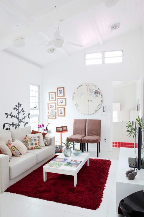 Clean, white and great touch of red.