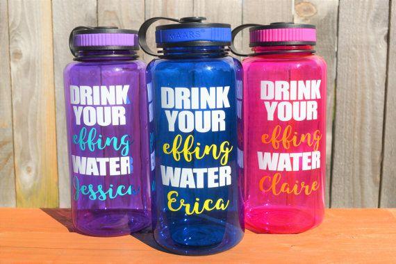Drink your effing water bottle // Funny Water Bottle // 34oz bottle // Personalized Bottle // Water Tracker Bottle //  Gym Bottle // Fitness