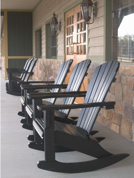 Relax in the shade with these Seashell Adirondack Rocking Chairs. This would be a delightful addition to your patio or deck.  Polywood gives you the look of a real wood rocker without the upkeep hassles. Cushions available.