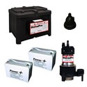 StormPro Maxx Heavy Duty Battery Backup Sump Pump System (3000 GPH @ 10') w/ 2 Batteries. If you do not have a generator for back-up power you can rely on this StormPro to pump water long after after your electricity goes out. This unit runs on standard 115V electricity when power is on.    The batteries are maintenance free and convert 12V battery power into 120V electricity.    The pump itself is 1/3HP but is so efficient it pumps more water than most 1/2HP pumps.