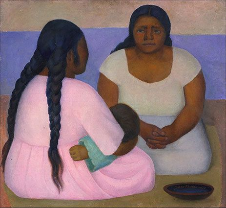Diego Rivera (1886-1957, Mexico) - Two Women and a Child, 1926, oil on canvas