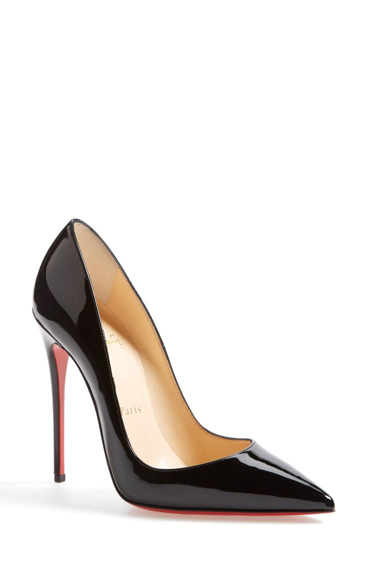 The iconic red sole and the fine stiletto heel makes this gorgeous ...