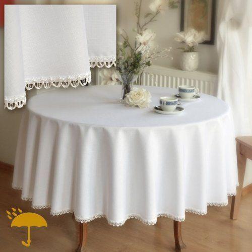 OBRUS OKRĄGŁY PLAMOODPORNY BIAŁY Z PĘTELKAMI   GLAMOUR Obrus okrągły plamoodporny, biały, deseń lnu, ozdobiony ozdobną białą taśmą w pętelki. Propozycja dla osób praktycznych ceniących elegancję.