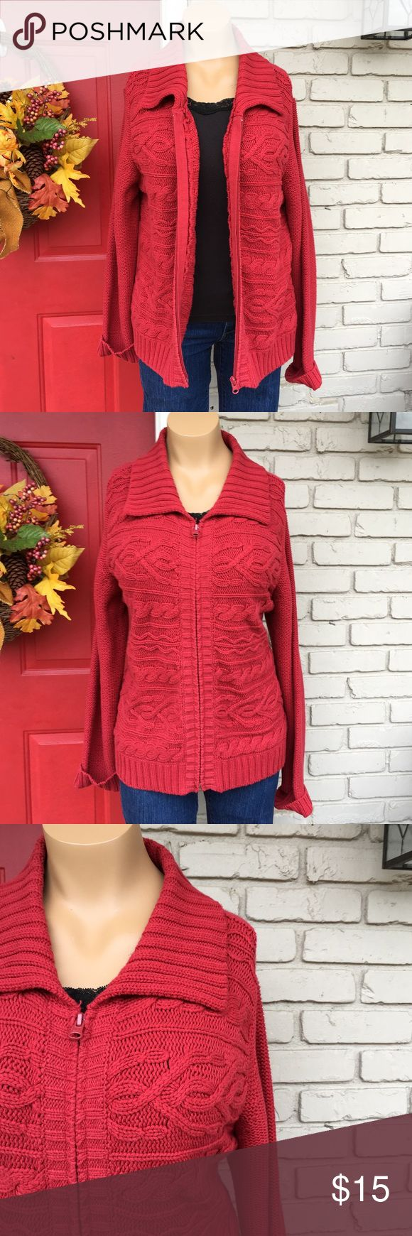 Red zip up sweater jacket Comfy and cozy red zip up sweater jacket. Some minor fading- nothing major. Pics are pretty true to color. Size PXL St. John's Bay Sweaters