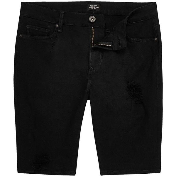 River Island Black ripped denim shorts ($37) ❤ liked on Polyvore featuring men's fashion, men's clothing, men's shorts, shorts, mens denim shorts, mens distressed denim shorts, tall mens shorts, mens ripped jean shorts and mens ripped shorts
