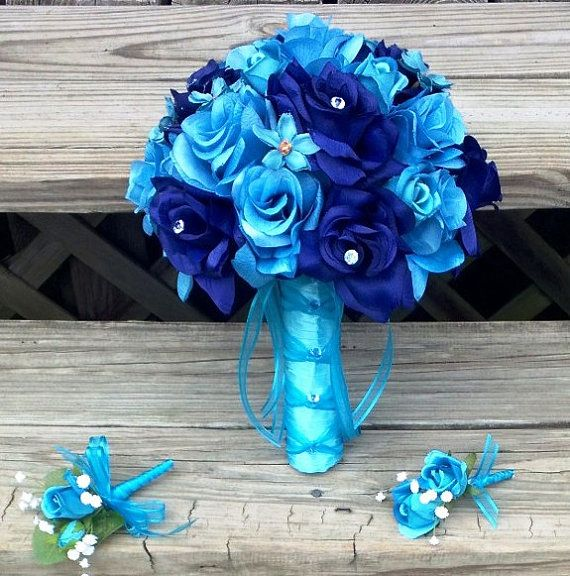 Silk Bridal Bouquet Blue Roses & Turquoise by SilkFlowersByJean, $65.00 flowers
