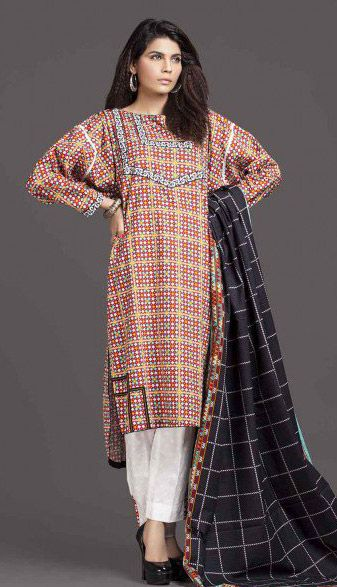 Buy Brown Printed Cotton Modal Salwar Kameez by Kayseria Winter Collection
