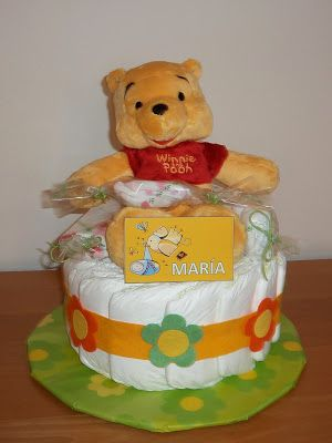 Tarta de pañales con peluche Winnie the Pooh