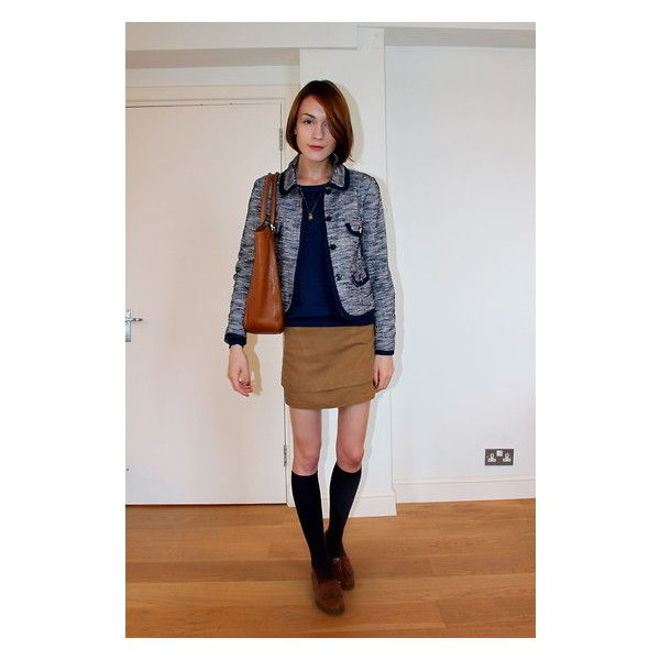 Ella Catliff - Russel & Bromley Brown Leather Loafers, Whistles Tweed Jacket, Anne Bowes Jewellery Charm Necklace, Topshop Tan Mini, Massimo Dutti Navy Sweater, Anya Hindmarch Tan Tote, H&M Knee High Socks - Back to School Special | LOOKBOOK found on Polyvore
