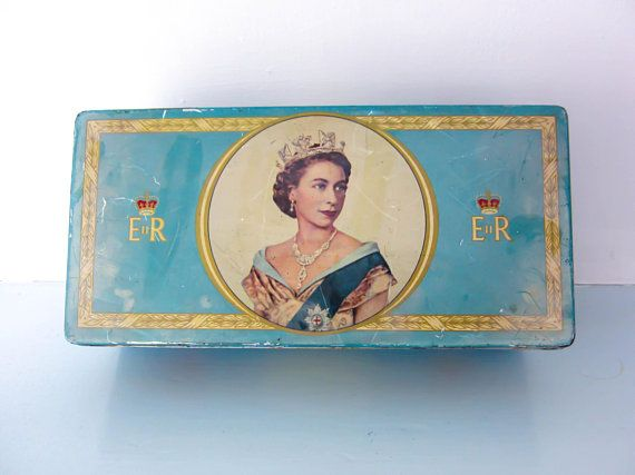 A collectable Vintage metal tin box canister Queen Elizabeth 2nd the Queen's Royal coronation 1953, Queen Elizabeth II, Royal tin, vintage.
