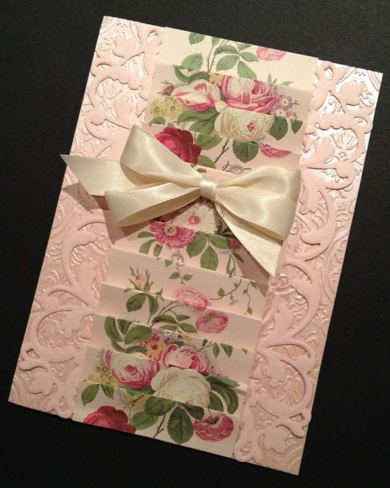 Shabby-Sweet and Elegant Fancy Floral All Occasion Card with Anna Griffin Papers on Etsy, $7.25
