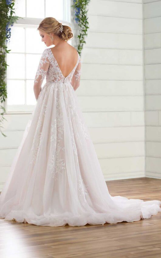 544d233e87df D2737 Long Sleeved Wedding Dress with Tulle Skirt by Essense of Australia