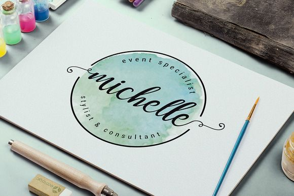 Elegant Watercolor Logo by Little Pines Designs on @creativemarket  https://www.kznwedding.dj