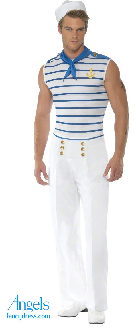 Oooh Lala! All the girls love a Sailor and this sexy French Sailor fancy dress costume is no exception! The set includes a fitted striped top with gold anchor embellishment, white trousers with gold button detail and a blue neck scarf. (Sailor not included!) http://www.fancydress.com/costumes/Fever-Male-French-Sailor/0~4502192~12