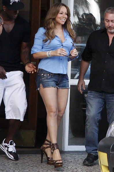 Mariah Carey Seen Leaving The Copacabana Palace Hotel- in short shorts