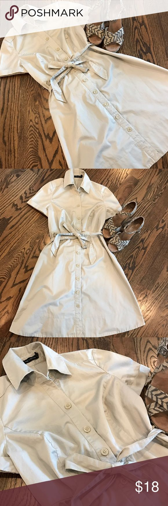 ✨New✨Khaki Limited shirt dress Crisp & classic, this khaki shirt dress from the Limited has endless style potential.  It features buttons down the front, a tied waist and cuffed sleeves.  Khaki belt included, but change the belt to change it to your style.  In very good used condition.  Size 2. The Limited Dresses