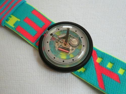 ...Il primo orologio era il Pop Swatch con il quadrante che si toglieva e il cinturino extra-large. Tremendamente pop!