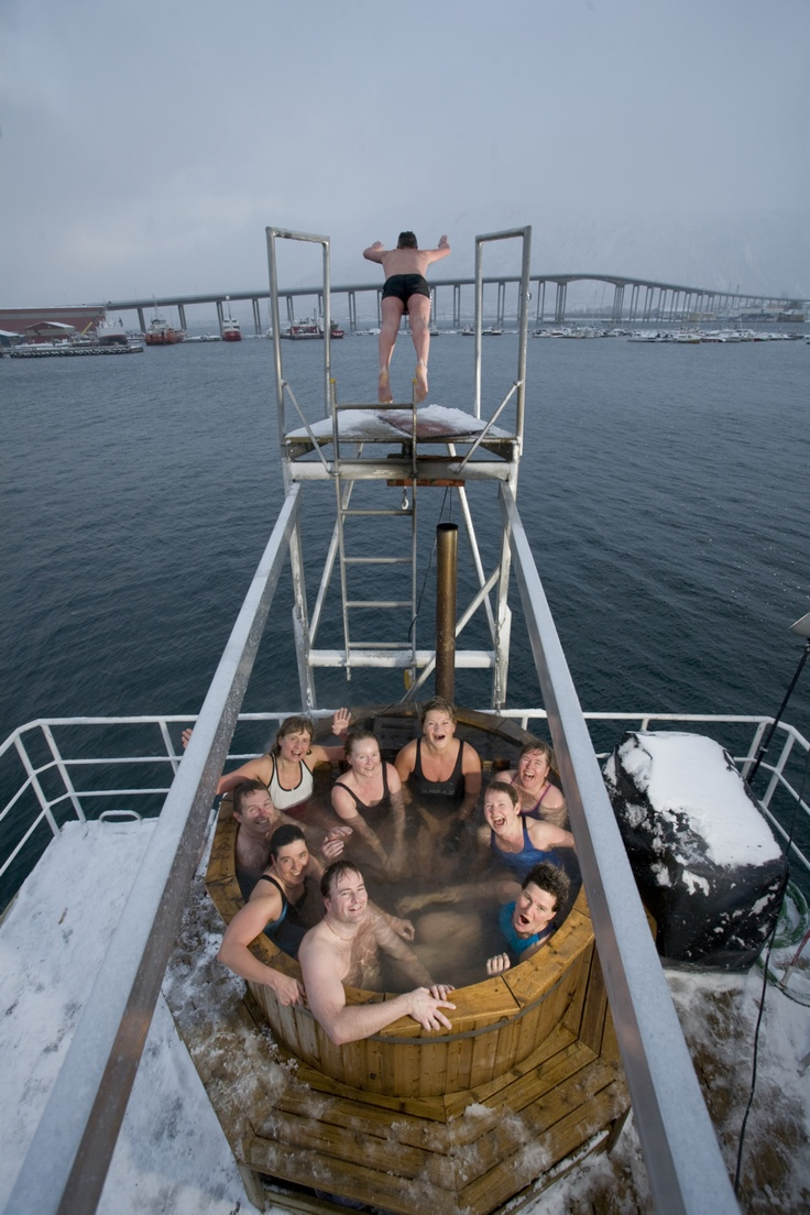 Take a dip in the Arctic Sea from the 7 metre diving board!