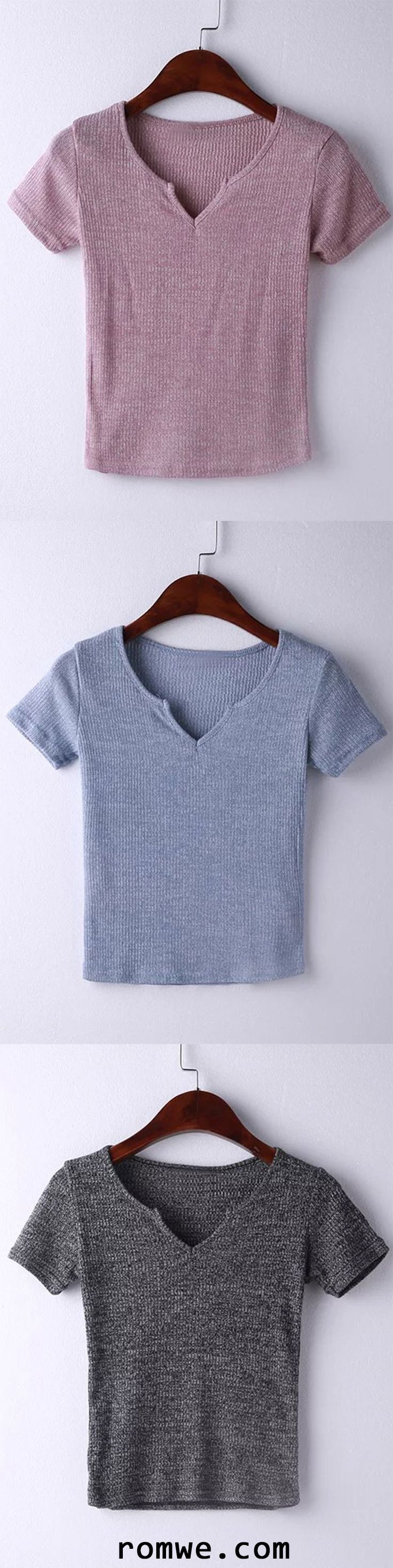 Short Sleeve V Neck Ribbed T-shirt
