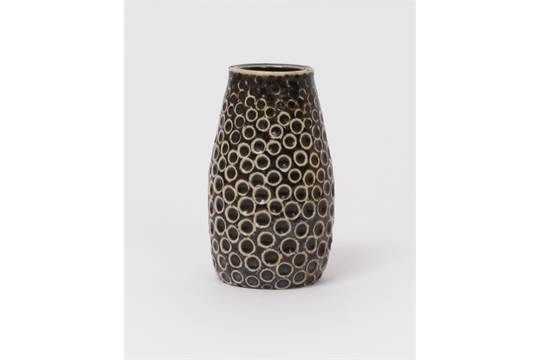 A Martin Brothers stoneware gourd vase by Edwin & Walter Martin, dated 1904, tapering cylindrical
