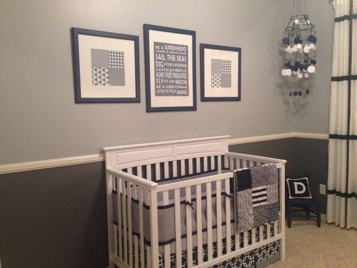 Grey and navy nursery