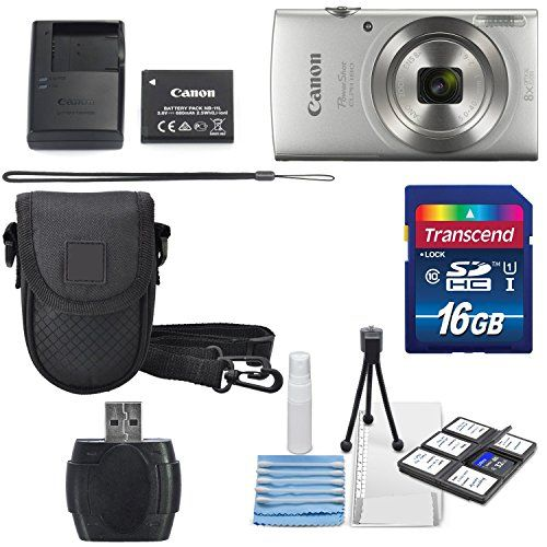 Canon PowerShot ELPH 180 Digital Camera Silver  16GB SDHC Memory Card  Mini Table Tripod Protective camera case with Deluxe Cleaning Bundle >>> Continue with the details at the image link.