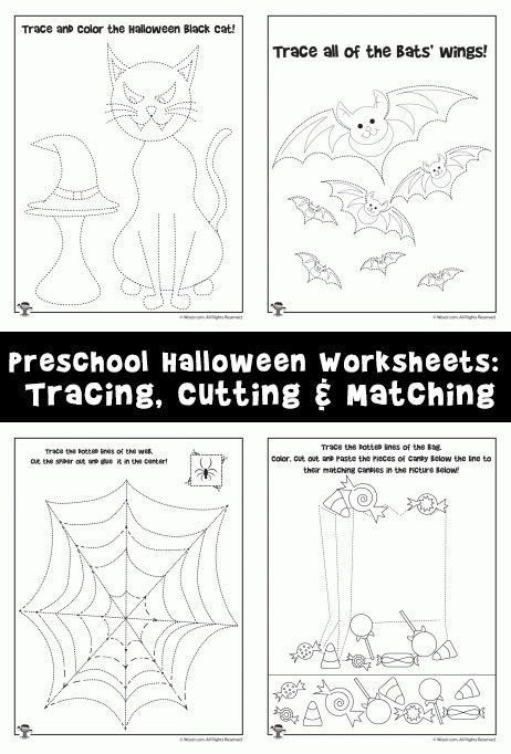 8 adorable preschool worksheets for halloween to teach tracing matching and scissors practice - Halloween Worksheets Preschool
