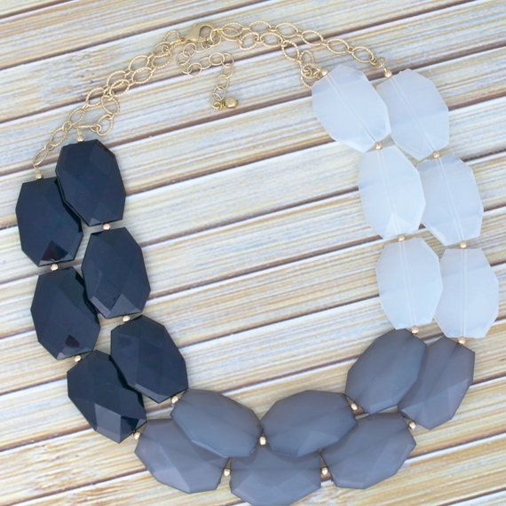 Black Chain Strand Necklace  Faux Onyx by TheGoldenGardenia
