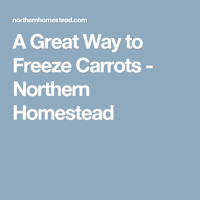 A Great Way to Freeze Carrots - Northern Homestead