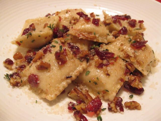 Butternut Squash Ravioli In A Browned Butter Cranberry